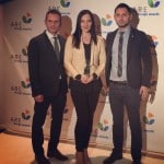 Claudiu Bologa, Camelia Bologa and Mihai Trif, representing Sabion at  ARE Design Awards Gala in Las Vegas 2014.