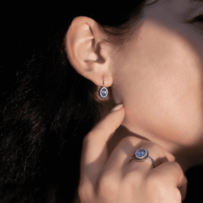cercei diamante și tanzanit